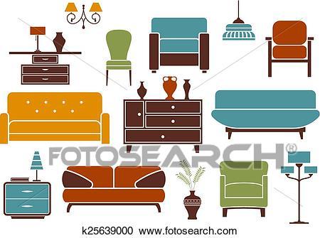 Furniture and interior design elements Clipart.