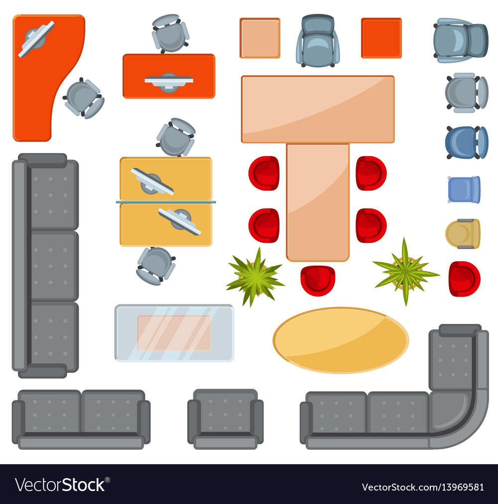 Top view interior furniture icons flat.