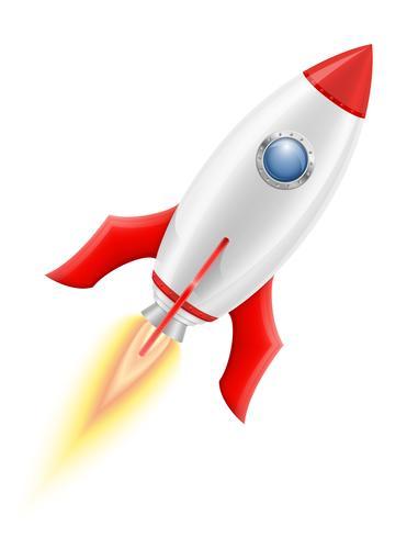 illustration vectorielle de fusée spatiale rétro vaisseau.