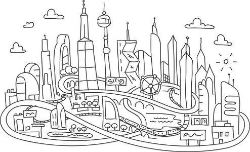 Hand line drawing, futuristic city architecture Clipart.