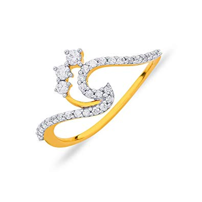 Buy P.N.Gadgil Jewellers 18KT Yellow Gold and Diamond Ring.