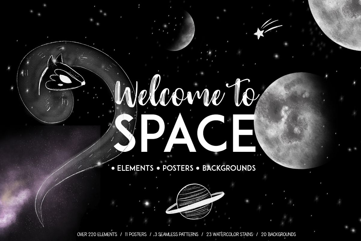 Welcome to Space clipart.Galaxy set with hand drawn elements.