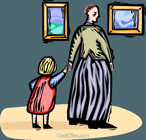 Vater und Tochter in der Galerie Vektor Clipart Bild.