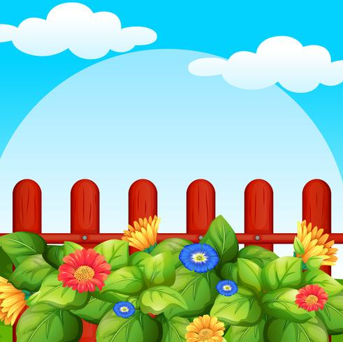 Background scene with flowers in garden.