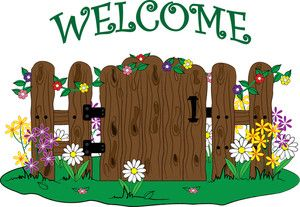 Clip art illustration of a wooden gate into a garden with.