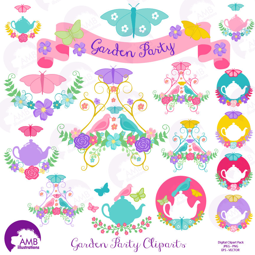 Tea time clipart, Garden clipart, Tea cup, Banner, embellishments, Garden  Party, digital clip art, AMB.
