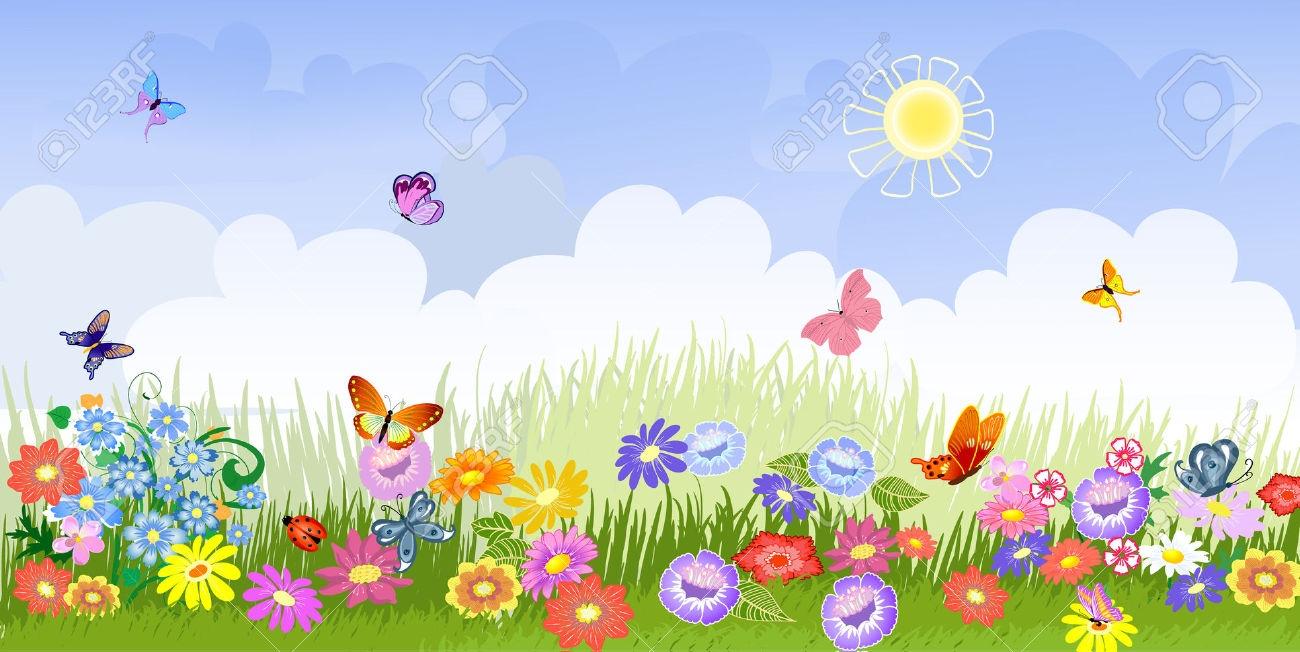 Flower Garden Background Clipart.