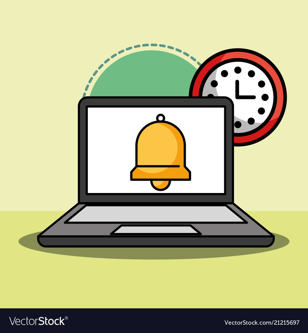 Laptop and bell clock customer service.