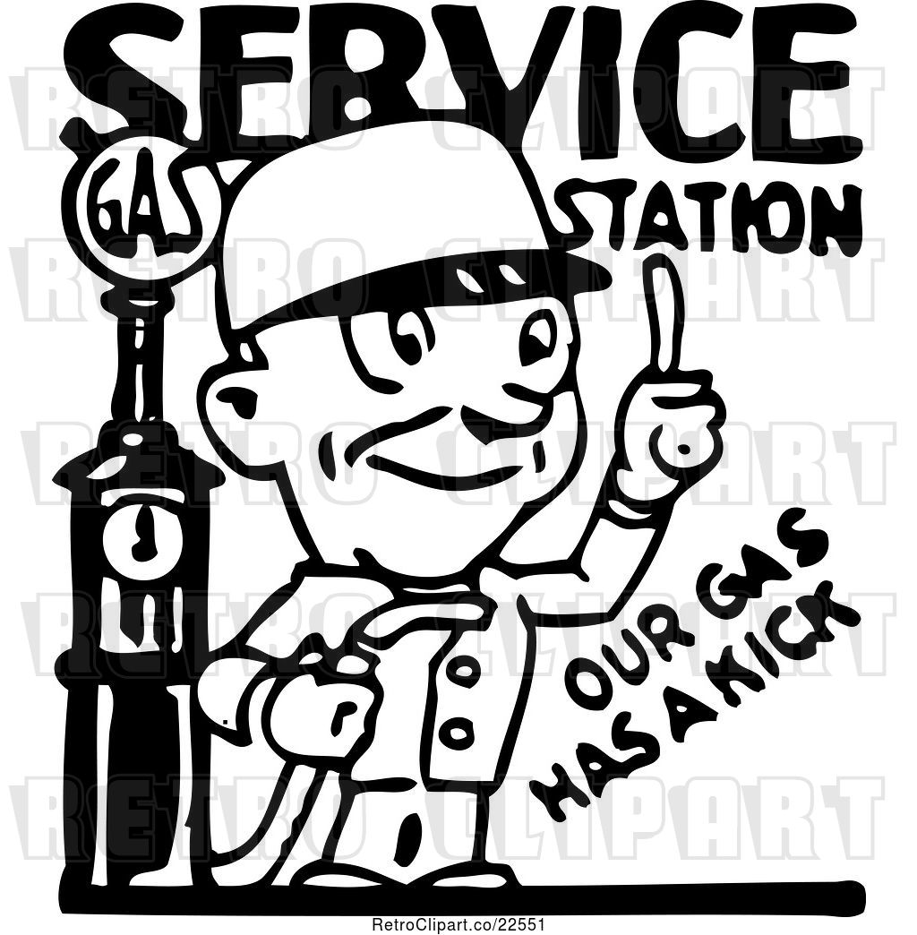 Vector Clip Art of Service Station Gas Attendant by.
