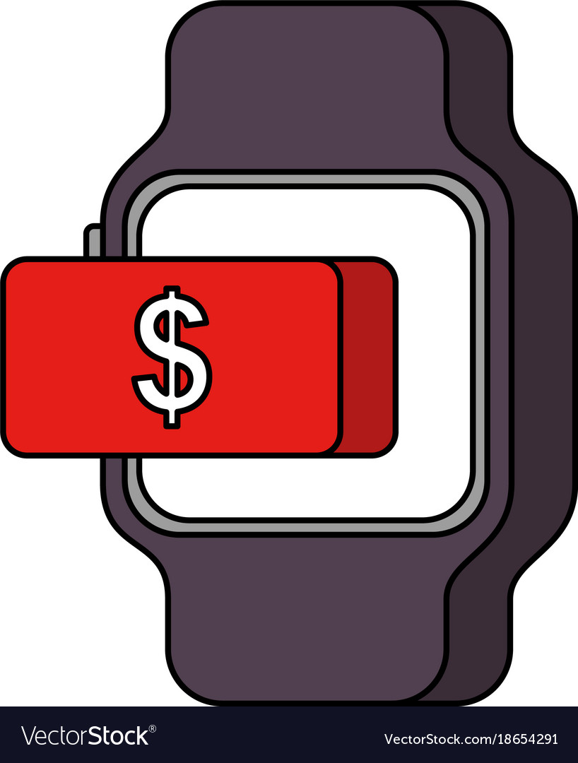Smartwatch payment money online button.