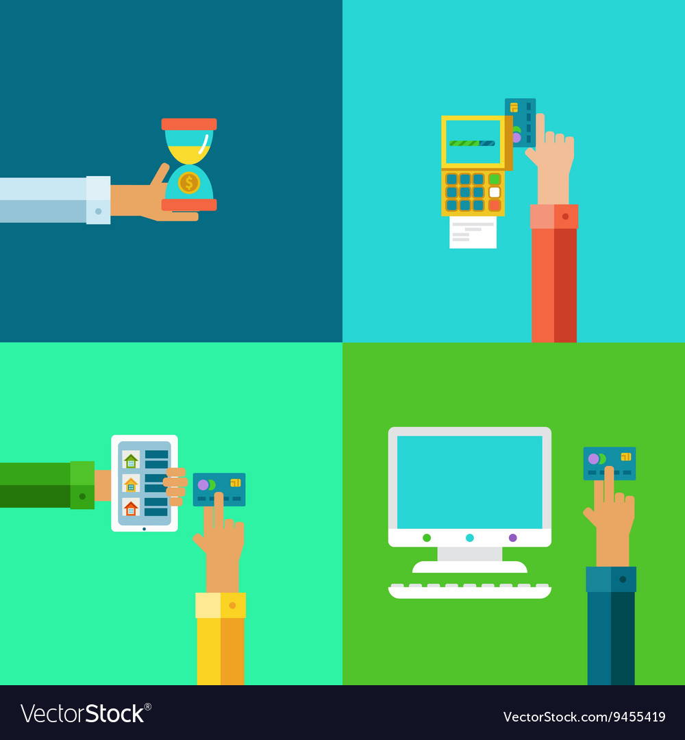 Online banking concepts set.