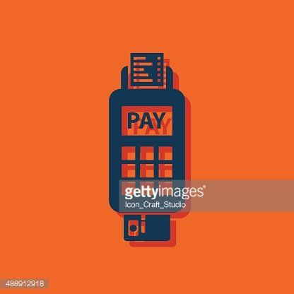 Credit card payment, chip reading Clipart Image.