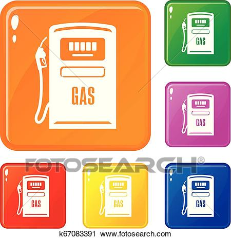 Gas column icons set vector color Clipart.