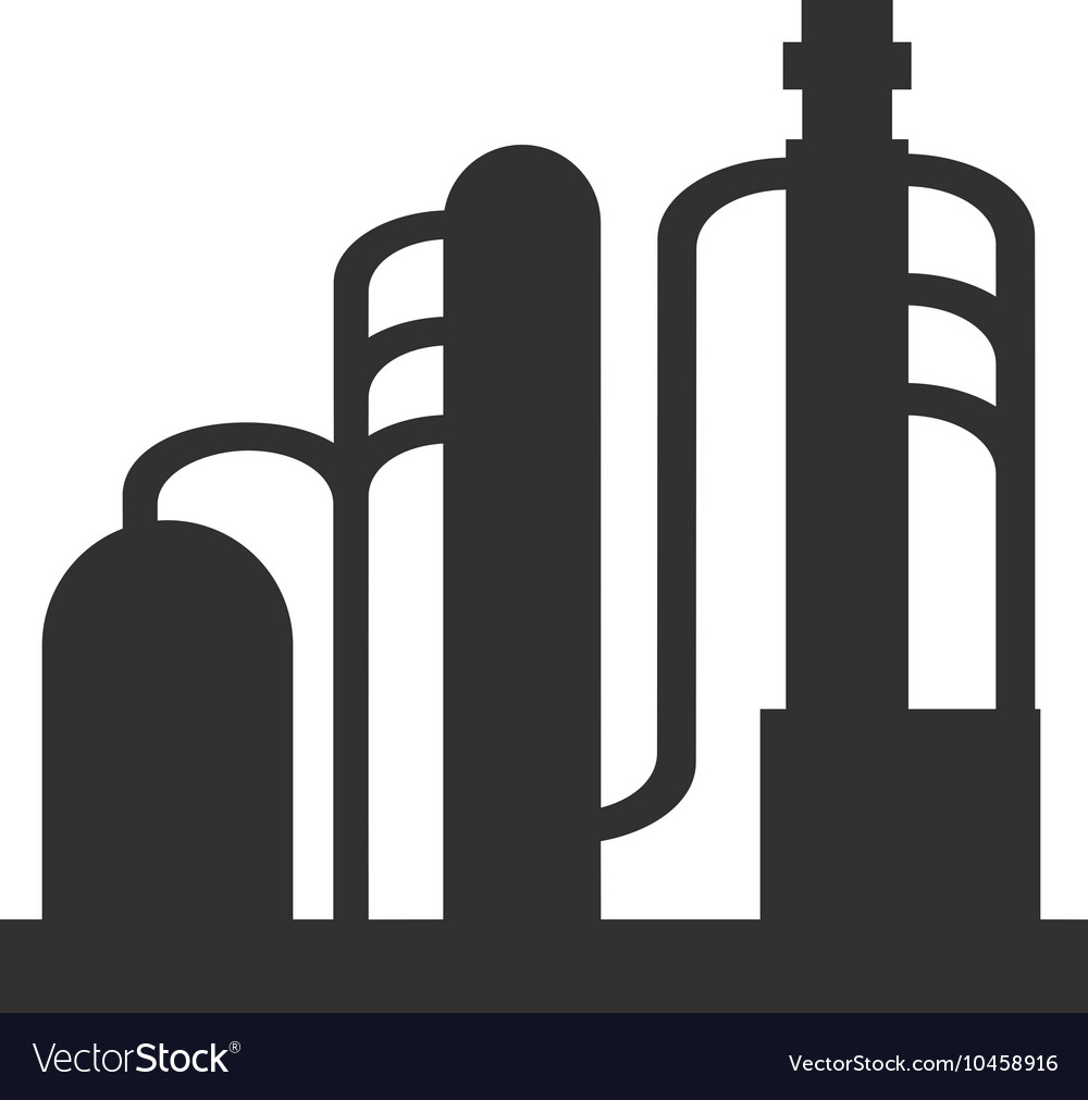 Oil refinery pipeline bridge icon.