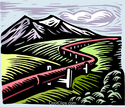 gas pipeline, woodcut style Royalty Free Vector Clip Art.