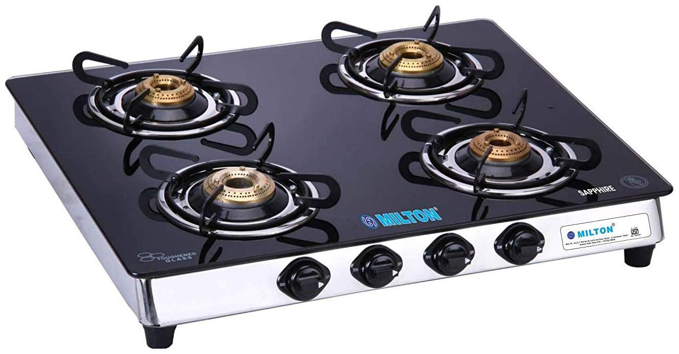 Milton MILTON 4 Burners Stainless Steel With Glass Top Gas Stove.
