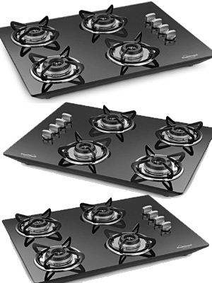 Sunflame Lotus Hob Stainless Steel 4 Burner Gas Stove AI, Black.