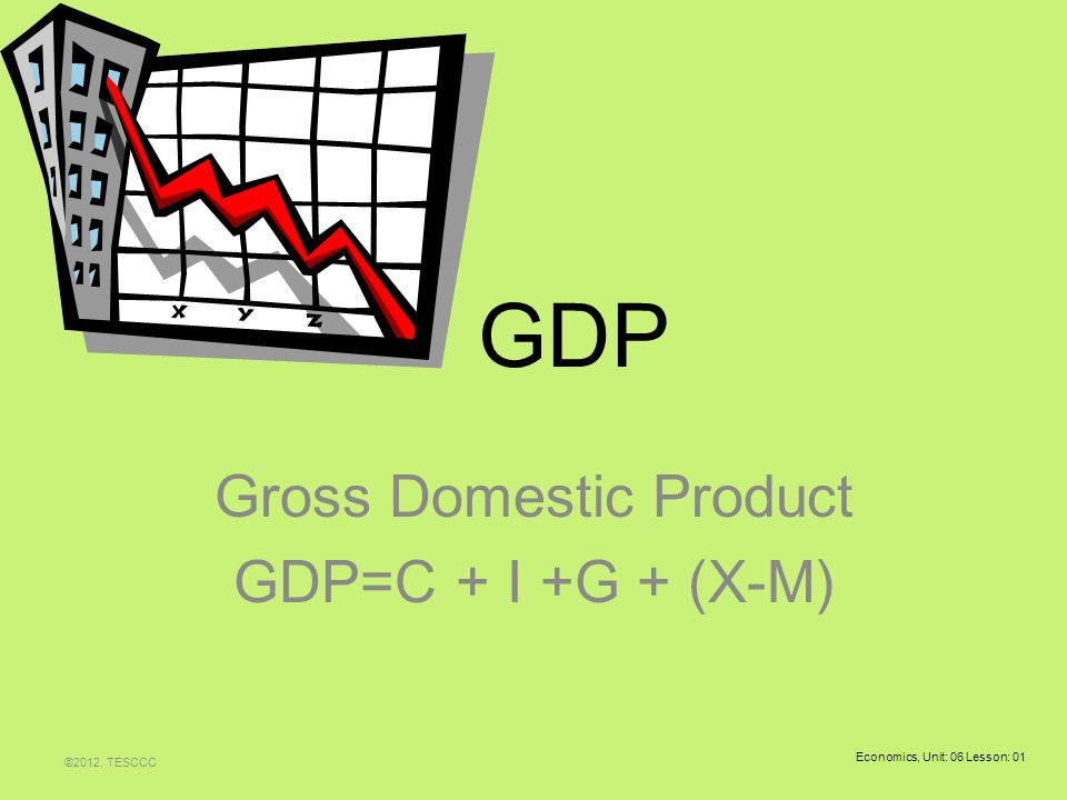 Gross Domestic Product GDP=C + I +G + (X.