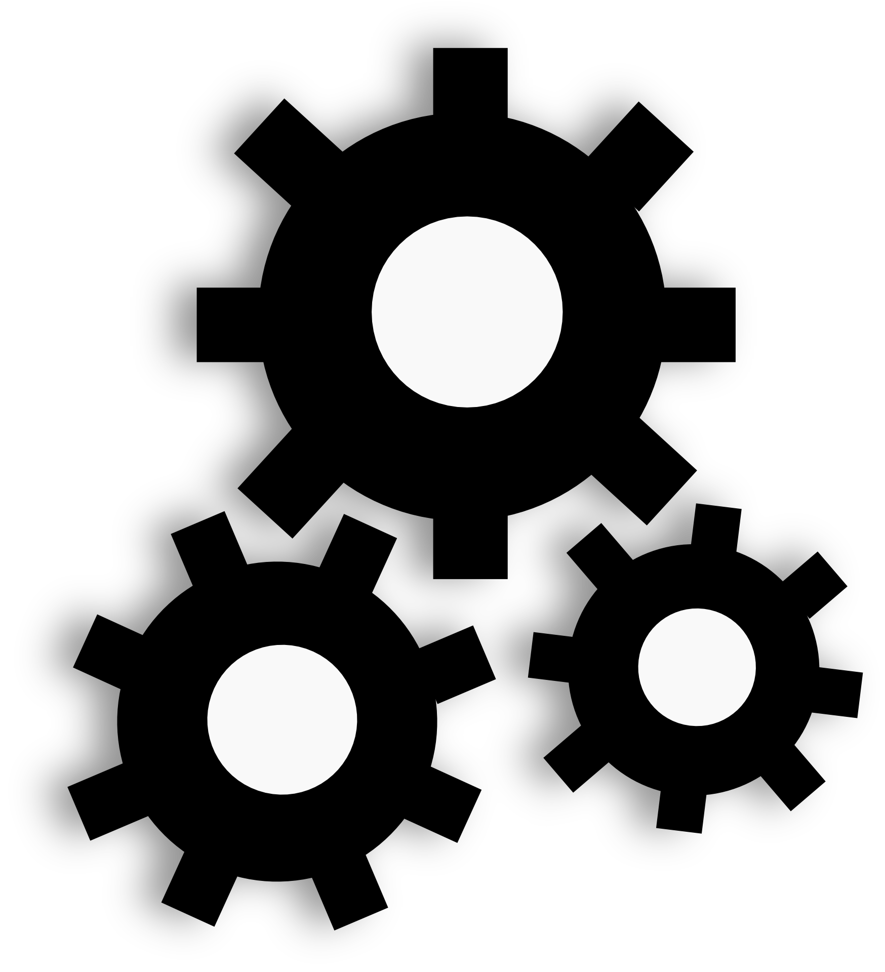 Three gear wheels clipart free image.