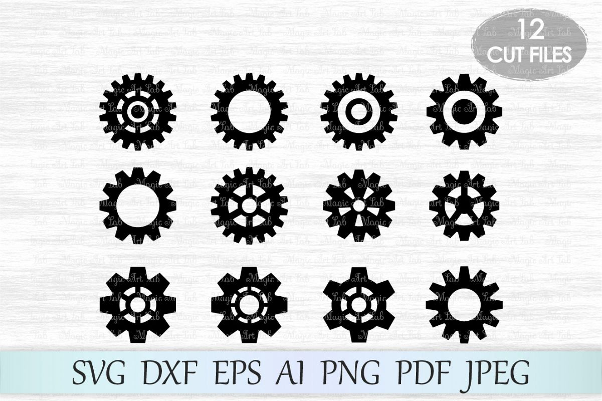 Gears SVG, Gears Silhouette, Gears cut, Steampunk svg, Silhouette Cut  Files, Gear clipart, Steampunk cut file, Gears vector , For Cutting Machines.