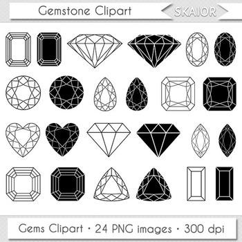 Gemstone Clipart Jewelry Clip Art Digital Gems Vector Diamond Silhouette.