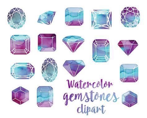 Jewels clipart gems clipart crystals digital gemstones.