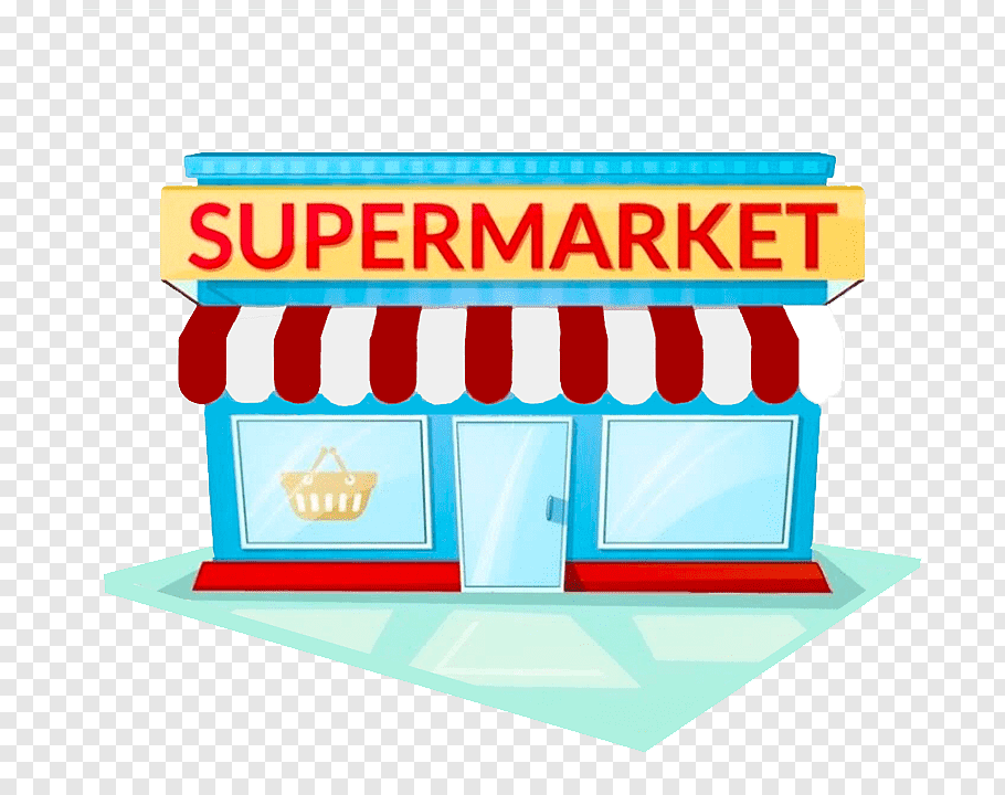 Supermarket store illustration, Grocery store Facade.