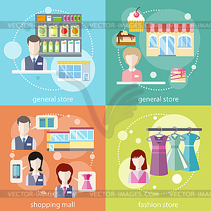 General store, shopping mall and fashion store.