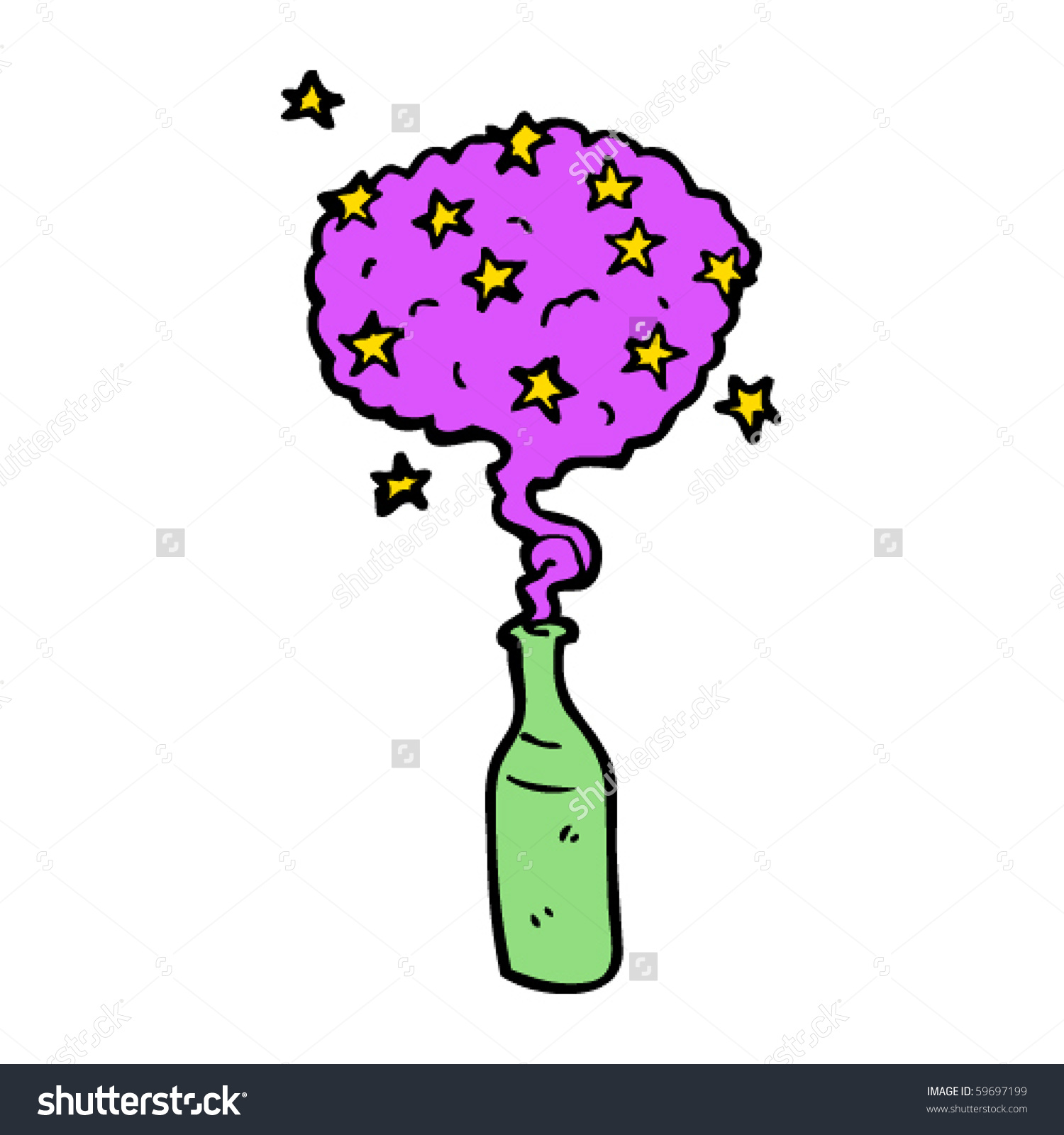 Genie Bottle Cartoon Stock Vector 59697199.