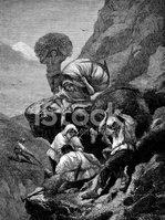 Antigua Ilustración DE Personas Trabajando En Los Alpes.