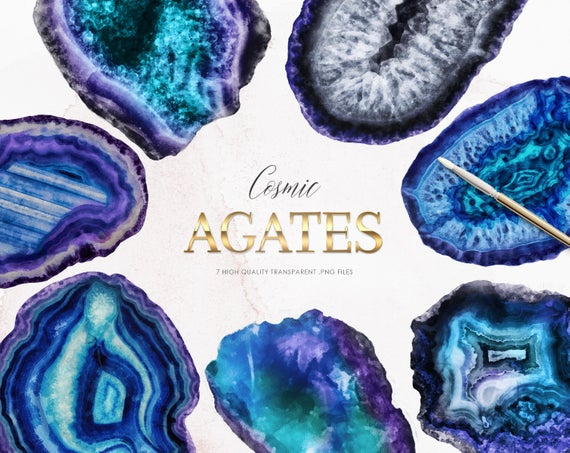 7 Agate Slices Watercolor Clipart, Minerals PNG, Blue Gems.