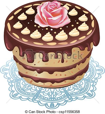 Clipart Vector of chocolate cake csp11556358.