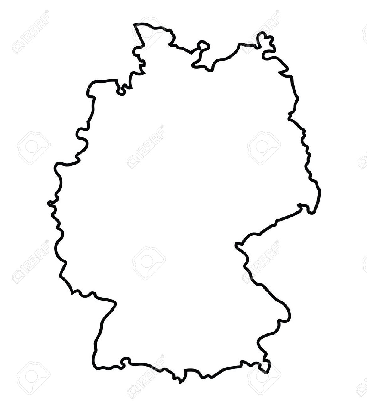 black abstract map of Germany.