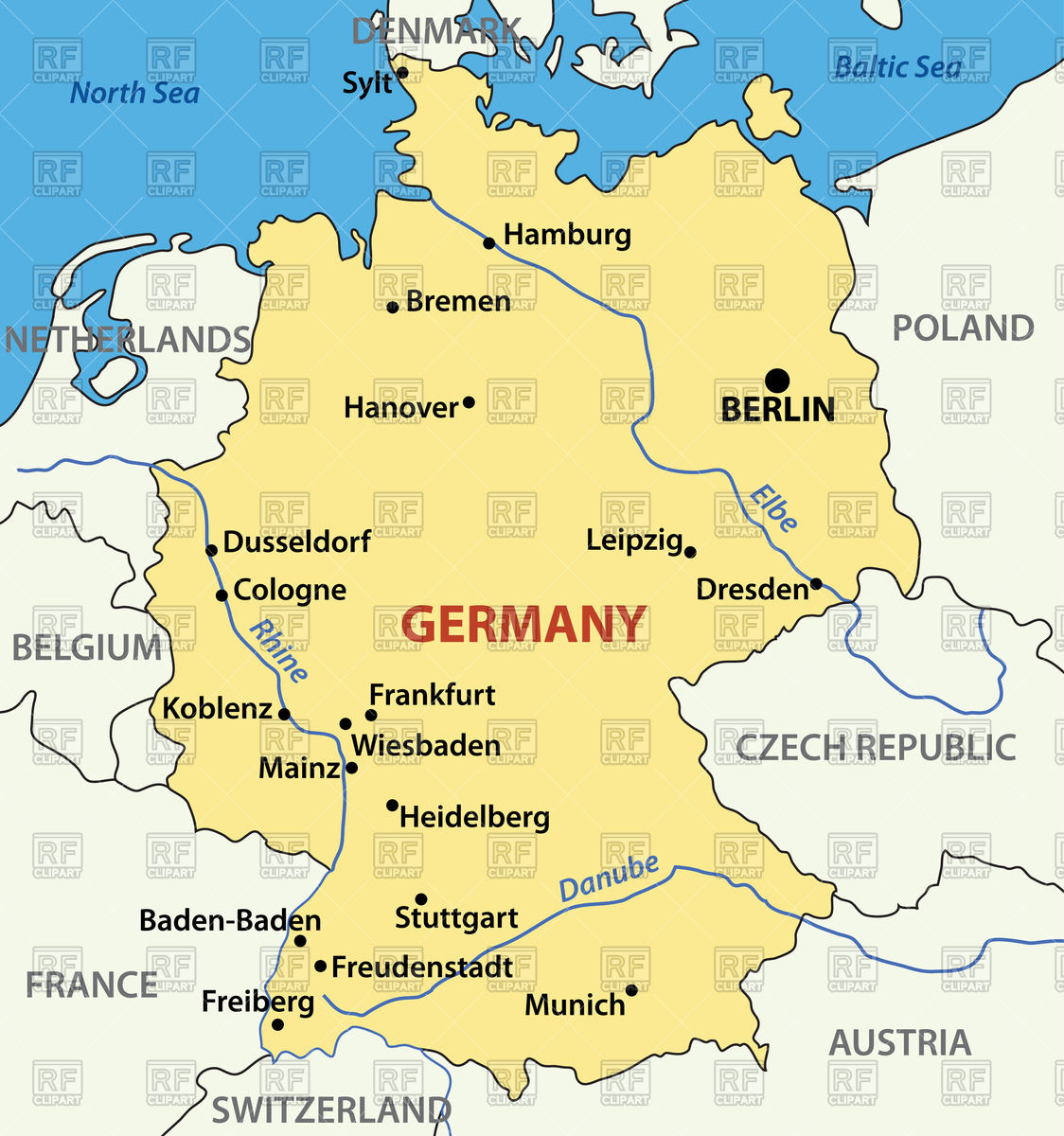 Map of Germany Stock Vector Image.