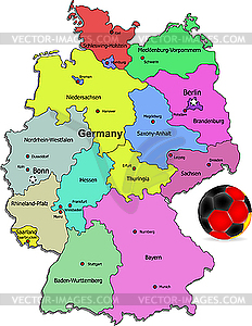 Germany map with soccer ball.