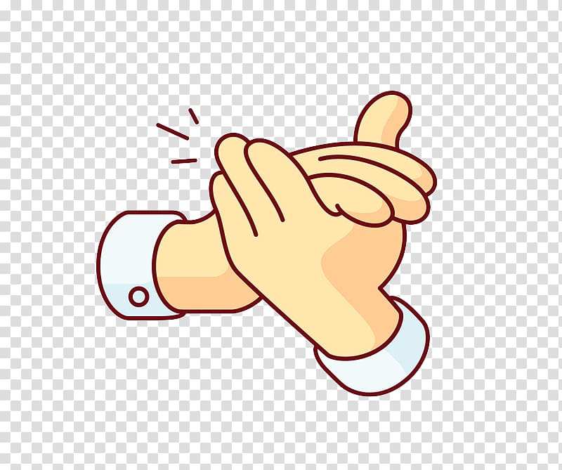 Clapping Cartoon, Applause gesture transparent background.