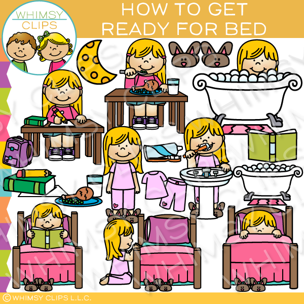 How to Get Ready for Bed Clip Art.