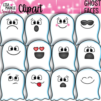 Ghost Clipart Halloween with Emoji Faces.