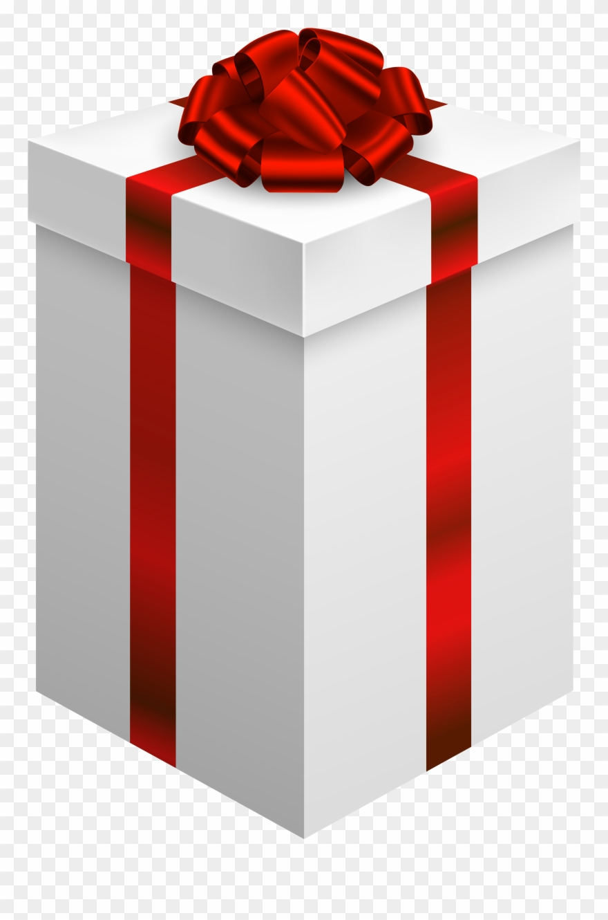 Gift Box With Red Bow Png Clipart.