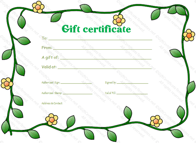 Green flowers border gift certificate template.