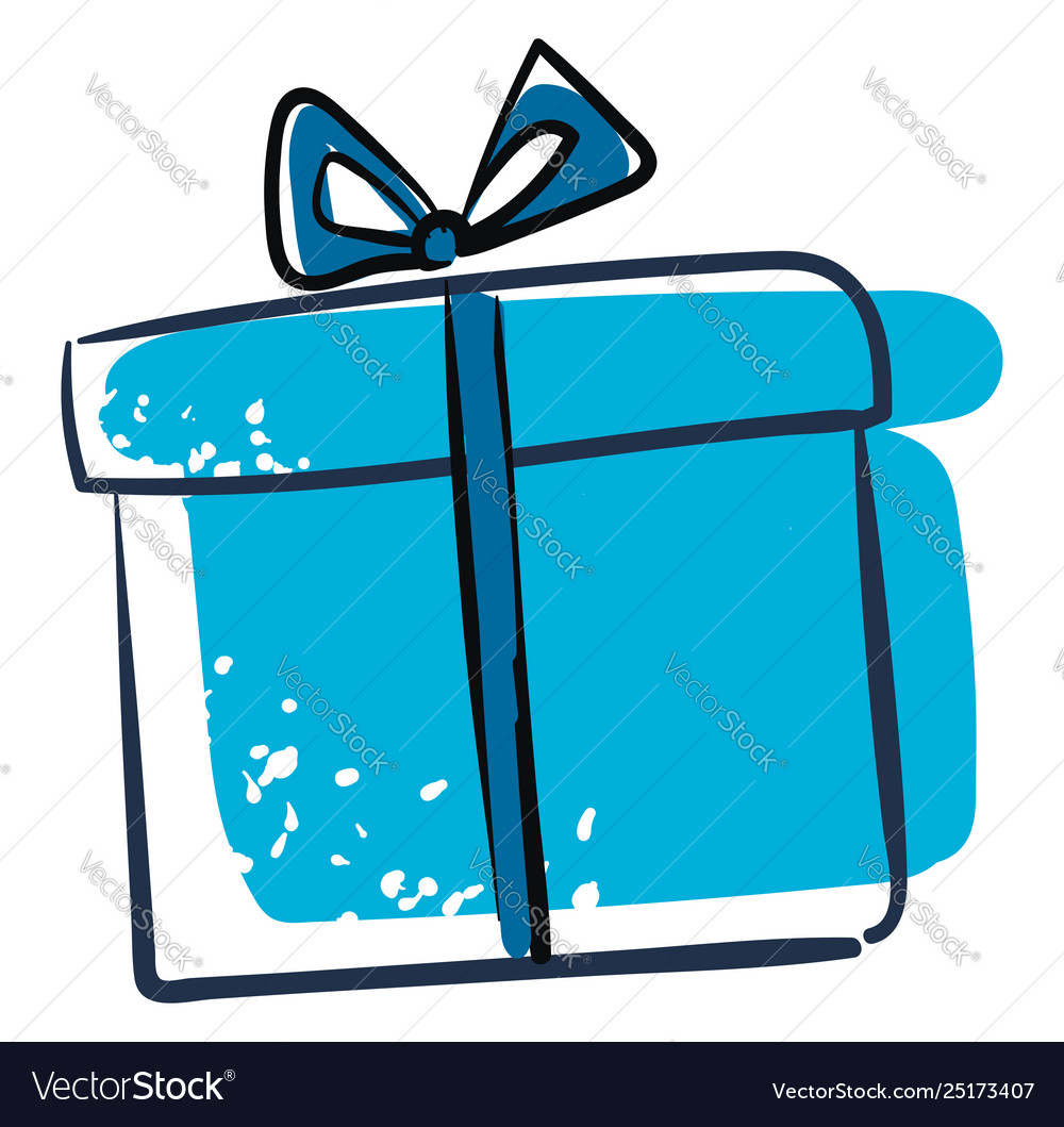 Clipart a blue gift box or color.