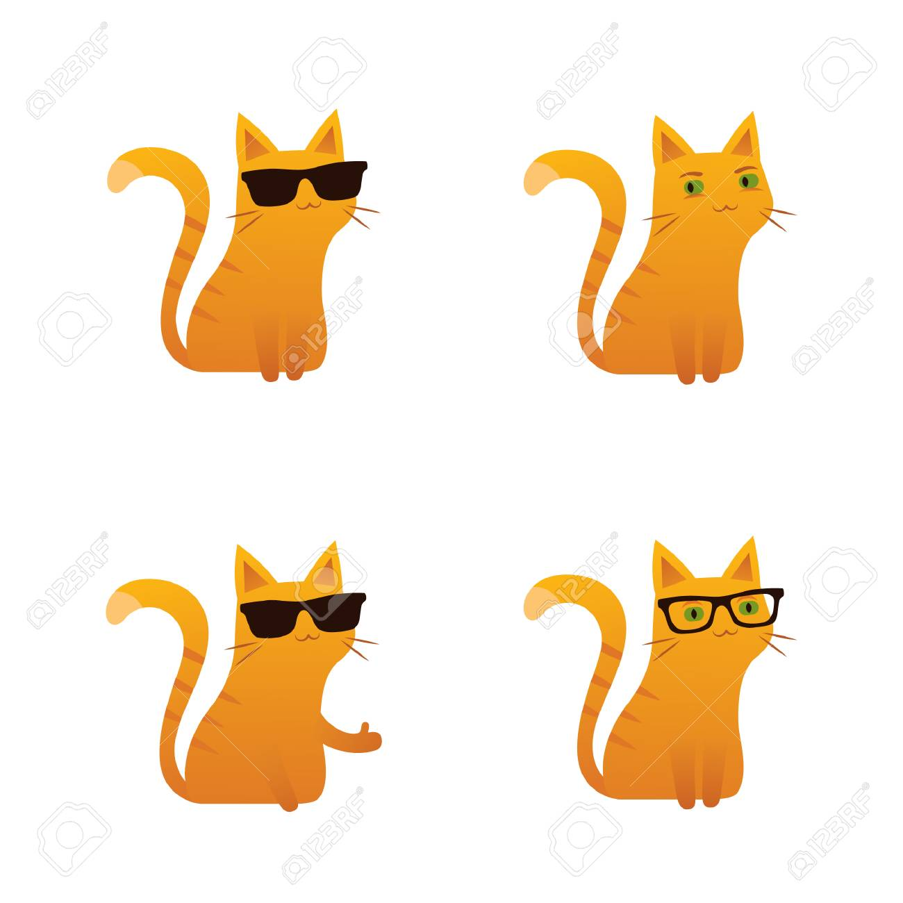Cute red ginger cat vector illustration sunglasses thumbs up.