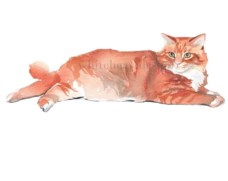 Red Ginger Tabby Cat Clipart Hand Painted Watercolor Digital Print Files  Clip Art Instant Download Images Pictures Art Commercial Use.