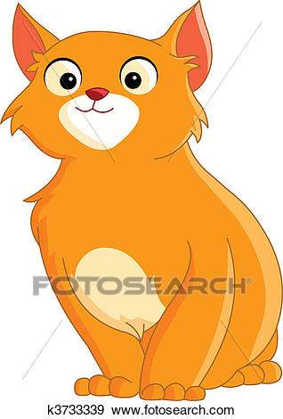 Cute ginger cat Clip Art.
