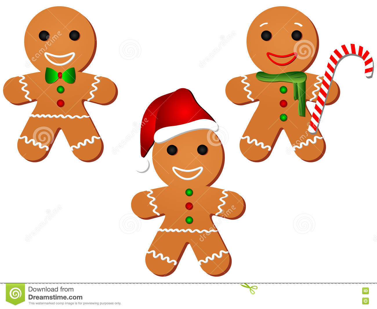 Gingerbread Man Clipart Set Stock Photo.