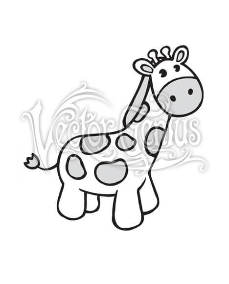 High Resolution Cute Giraffe Cartoon Clip Art Stock Art.