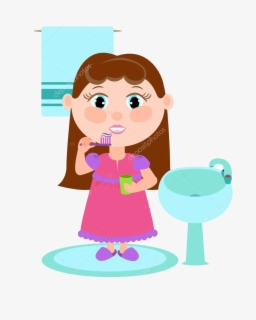 Free Girl Brush Teeth Clip Art with No Background.