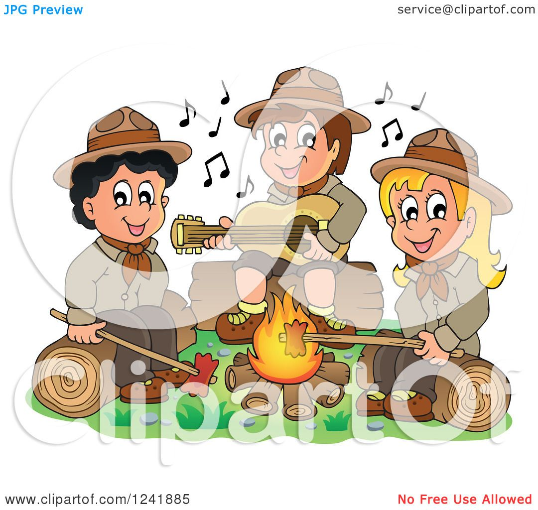 Clipart of a Boy and Girl Scouts Singing Around a Camp Fire.