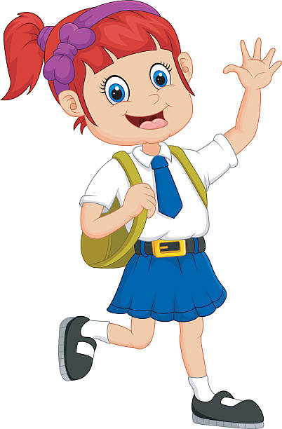 Girl Walking To School Clipart.