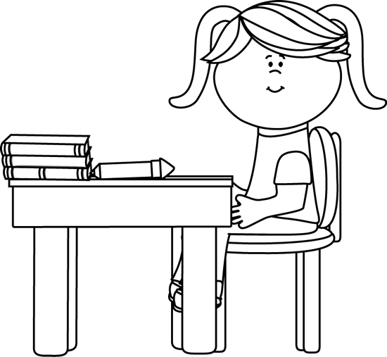 Black and White School Girl Sitting at a Desk Clip Art.